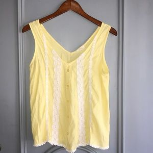 Yellow lace tank top blouse